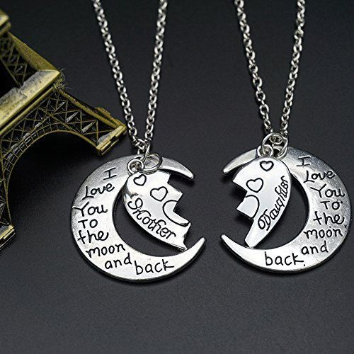 Mother & Daughter Necklace Set Half Heart  I Love You to the Moon and Back
