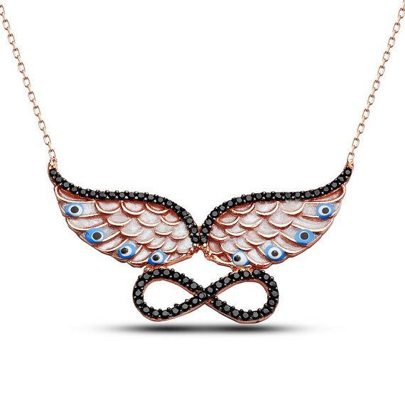 925 Infinity Silver Angel Wing Necklace by HandCraftedCom on Etsy