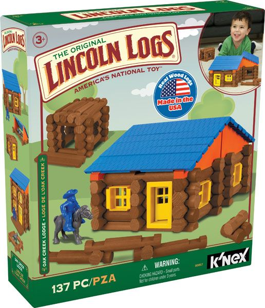 K'NEX Lincoln Logs Oak Creek Lodge - Build a frontier lodge and invite all of your friends! Inspired by an original LINCOLN LOGS® building idea, the 100% made in the USA 100th Anniversary Tin captures the true essence of the LINCOLN LOGS® brand. This set comes in a collectible tin which makes for easy and quick clean-up once your builder is done. Most models can be built one at a time.