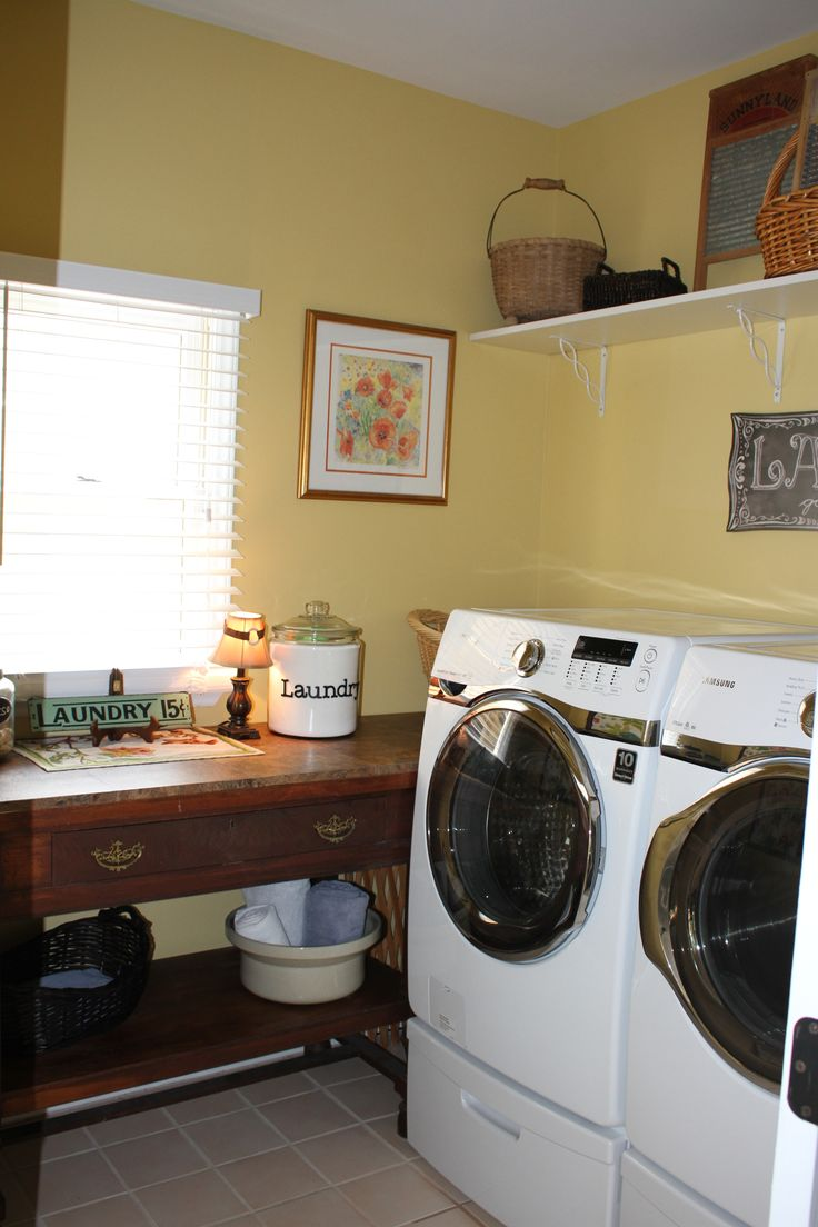 Biscuit colored washer and dryer - Laundry Room Redo Removed Less Than Builder Grade Cabinets Under The Window And On Wall