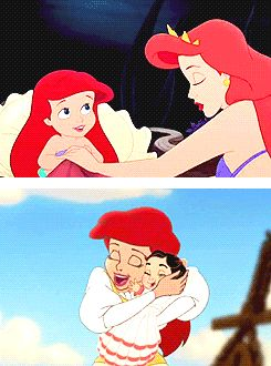 Ariel and her mother, Queen Athena. Ariel and her daughter, Melody.