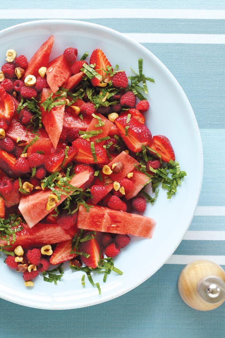 watermelon, hazelnut, raspberry, and mint salad