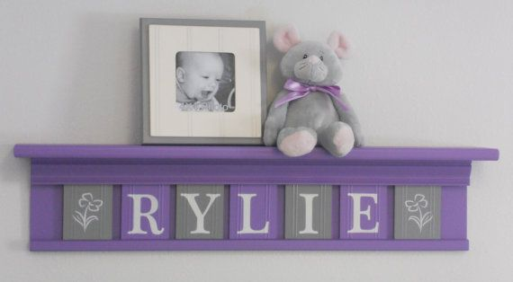 """Grey and Purple Nursery Decor - 7 Wooden Wall Letters on 30"""" Lilac Shelf - Name with Flowers on Etsy, $56.00"""