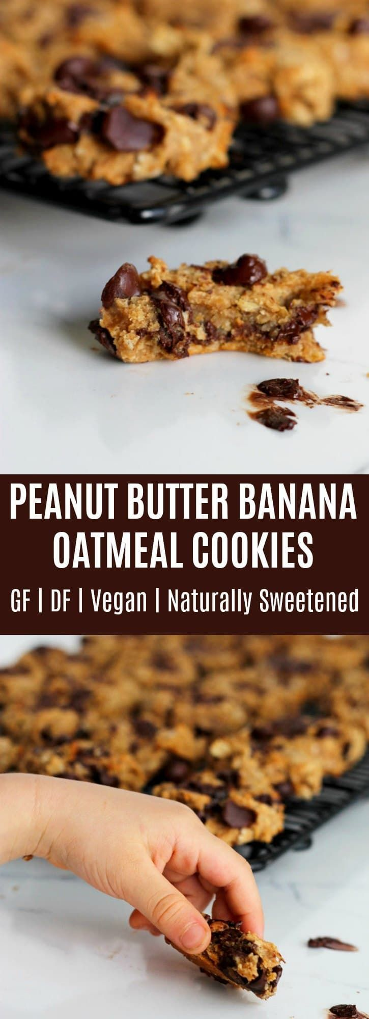 These chewy Peanut Butter Banana Oatmeal Cookies are super perfect for anyone who loves peanut butter and dark chocolate! They are easy to make & naturally sweetened. Gluten-free & dairy-free as well!