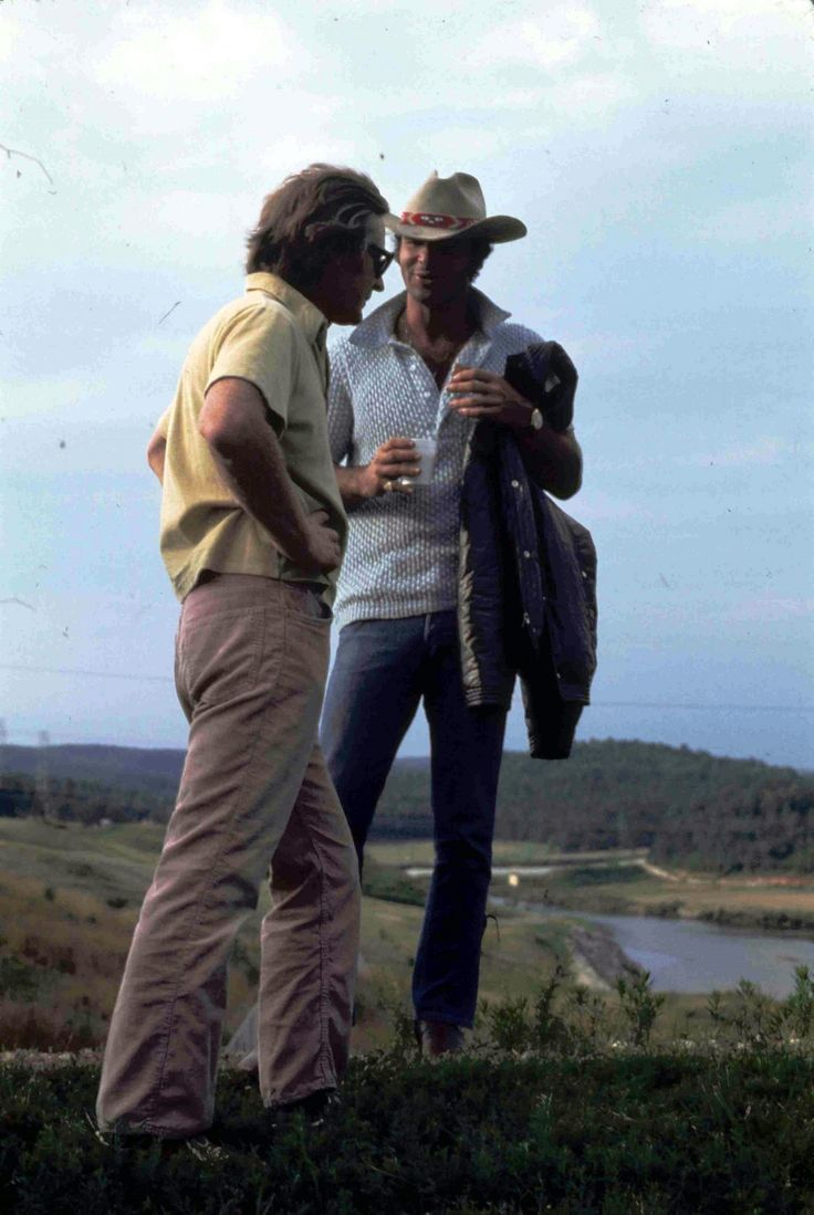 Director John Boorman and Burt Reynolds on location during the making of Deliverance (1972).