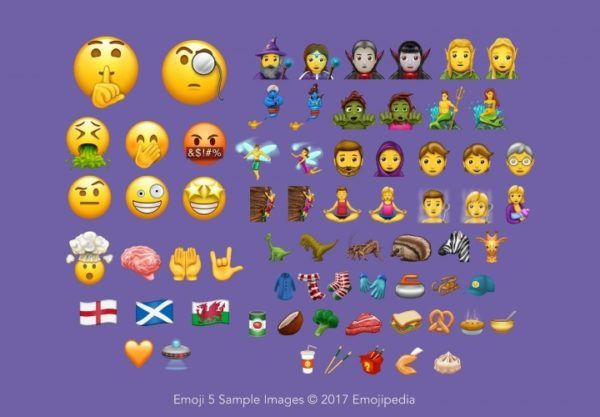Unicode 10 emojis include 9 faces, 13 food items, 7 fiction characters, 3 leisure activities, 5 animals, 5 clothing articles, 6 human symbols, and many more.
