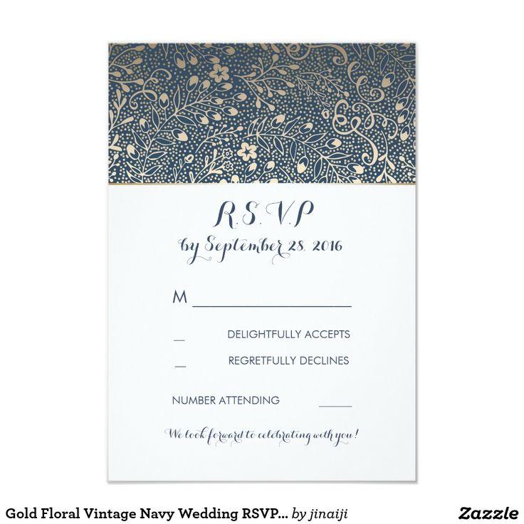 Gold Floral Vintage Navy Wedding RSVP Cards Gold floral vintage navy wedding reply cards