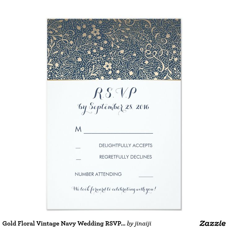 Gold Floral Vintage Navy Wedding RSVP Cards Gold floral vintage navy wedding reply cards