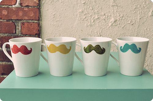 cute mustache mugs: Mustache Cups, Ideas, Mustache Mugs, Craft, Stuff, Coffee, Whiskers, Things, Diy