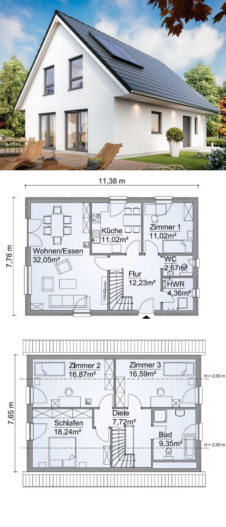 Modernes einfamilienhaus neubau klassisch mit satteldach for Architektur klassisch