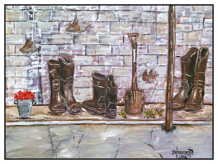 45	Gumboots 	Oil  	Stretched Canvas 400x300x40mm