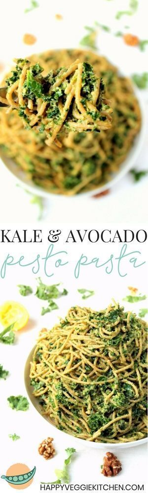 This quick, easy kale avocado pesto pasta is a deliciously simple recipe, with a creamy texture and tons of flavor. A super healthy but comforting vegetarian and vegan pasta dinner!   #vegetarian #vegan #pasta #meatlessmonday