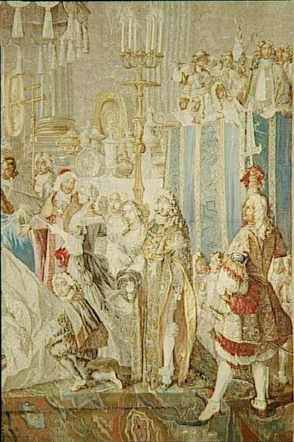 Le baptême du Grand Dauphin à Saint-Germain-en-Laye, le 24 mars 1668, Suite de l'Histoire du Roi, 5e série 3e pièce supplémantaire, d'après les cartons de J. Christophe (MV 2099) 1716-1730. Monsieur is maybe standing behind the crouching boy.
