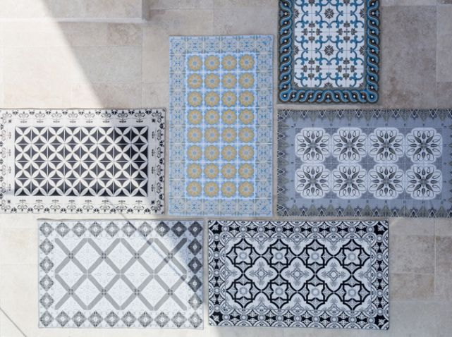 vinyle plancher tuile sticker - stickers de sol - carreaux ciment