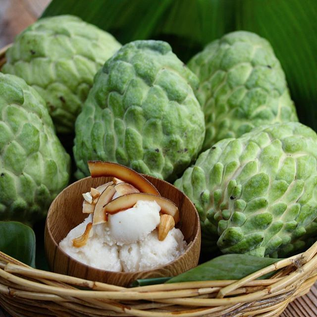 """Flavour of the month"" ""Custard Apple Sorbet"" Beautiful Queensland custard Apple season just started. No time to ponder, we use them to make our delicious signature sorbet. Available only @sunriseasian Elizabeth Bay. #sunriseasian #producetoplate #australianproduce #sydneyeats #pottspoint"