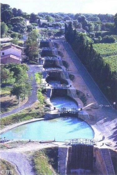 les 9 écluses de Fonteranes. Canal du Midi. Patrimoine de l'Unesco