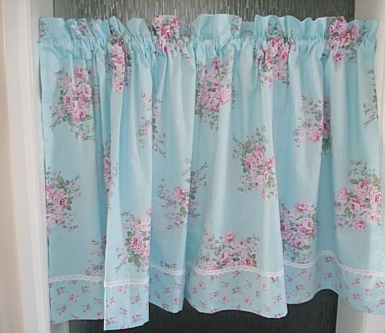 Superior Shabby Blue And Pink Roses Café Curtain. Curtains For KitchenCountry ...