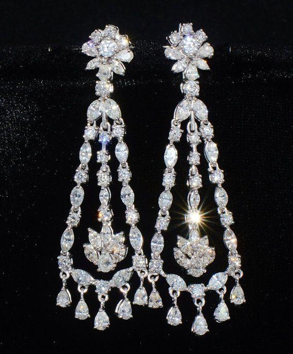 Diamond Chandelier earrings Diamond Earrings Diamond Stud