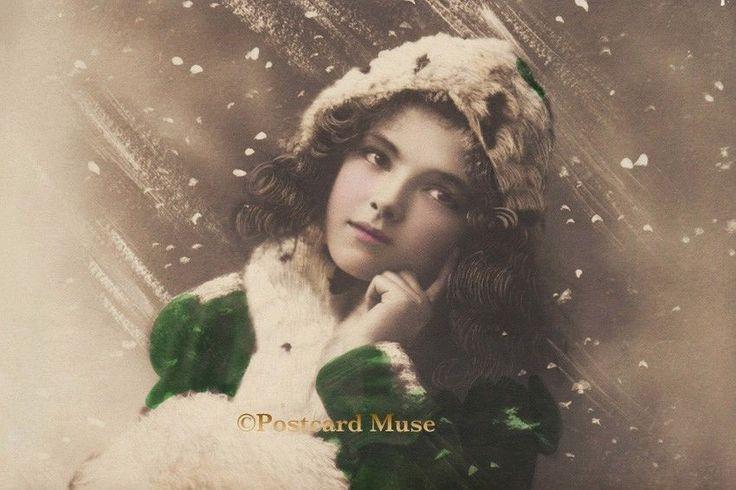 WINTER GIRL IN GREEN Vintage Postcard Image Photo, Blank Card Or Print