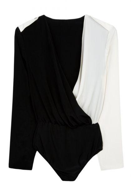 Nadia Rapti Black & White Long Sleeved Bodice _ Fashionnoiz.com  #fashionnoiz