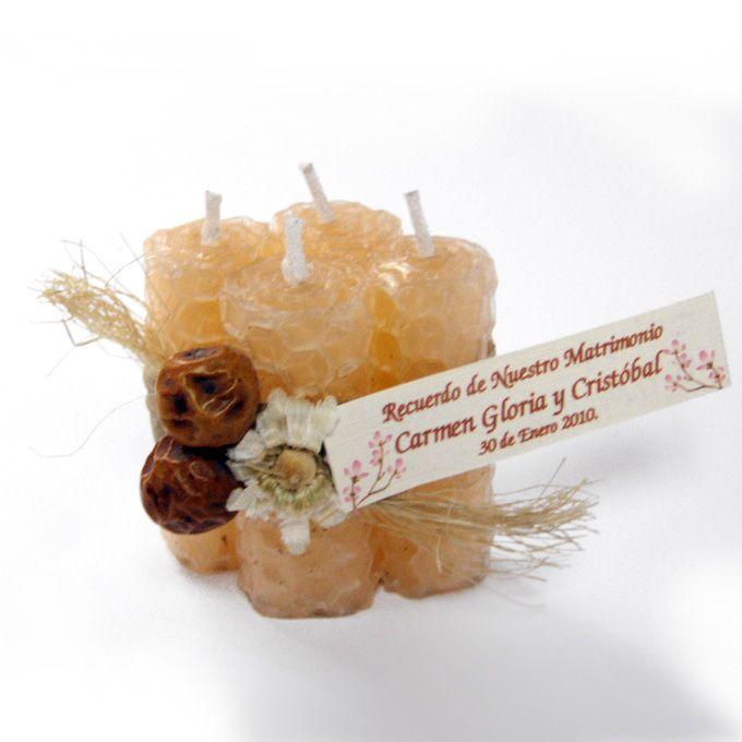 Rombo 4 velitas miel con arreglo Recuerdo de Matrimonio