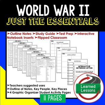 World War II Outline Notes JUST THE ESSENTIALS Unit Review, Study Guide, Test Prep American History Outline Notes, American History Test Prep, American History Test Review, American History Study Guide, American History Summer School, American History Unit Reviews, American History Interactive Notebook Inserts