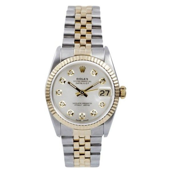 Pre-owned Rolex Datejust 68000 18K Yellow Gold & Stainless Steel 31mm... ($4,899) ❤ liked on Polyvore featuring jewelry, watches, rolex wrist watch, yellow watches, yellow dial watches, pre owned watches and rolex watches