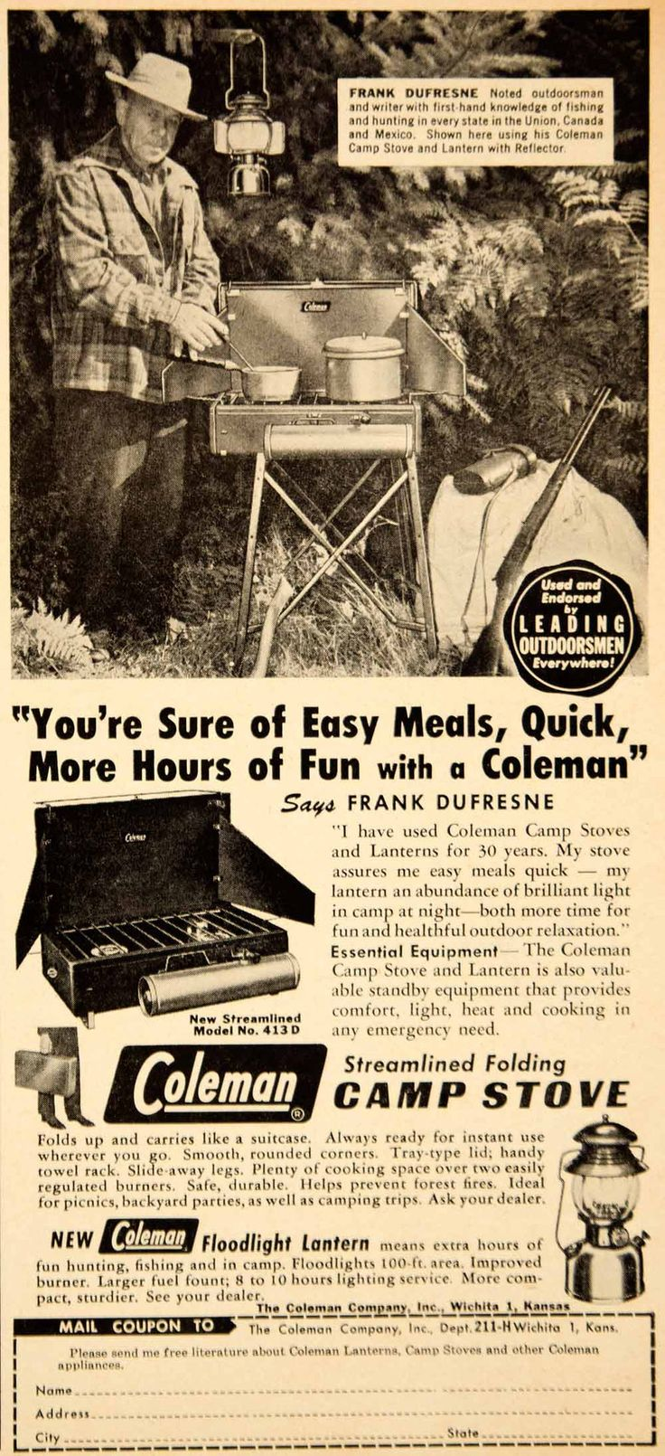 1951 Ad Coleman Camp Stove Floodlight Lantern Frank Dufresne Outdoorsman YHF1