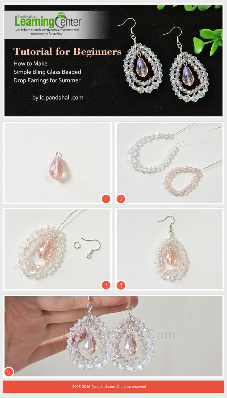 Tutorial for Beginners - How to Make Simple Bling Glass Beaded Drop Earrings for Summer from LC.Pandahall.com