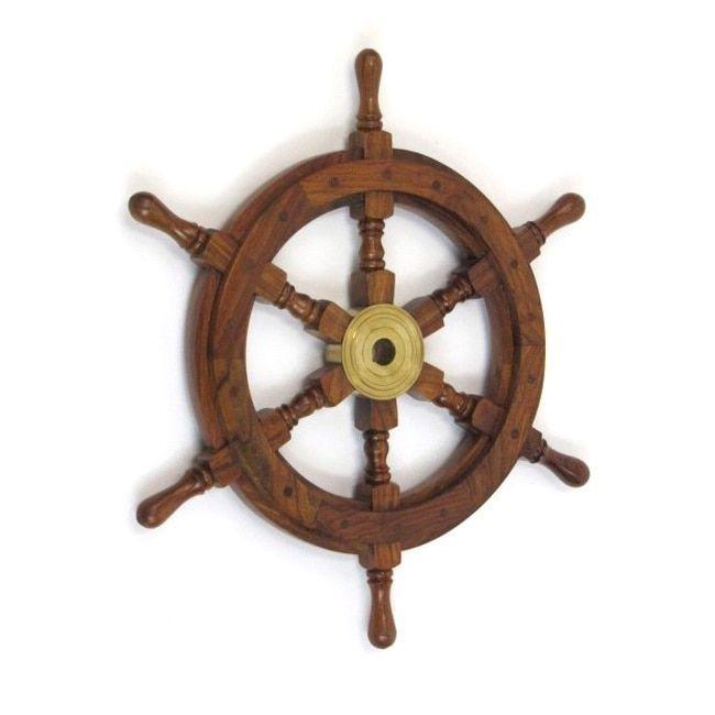 Benzara Bilbao Decorative Ship Wheel (Ship Wheel), Brown