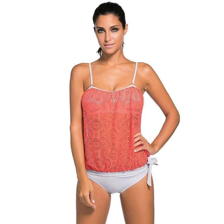 #D41918 Orange Lace Overly 2pcs Bandeau Tankini Swimsuit #Tankinis