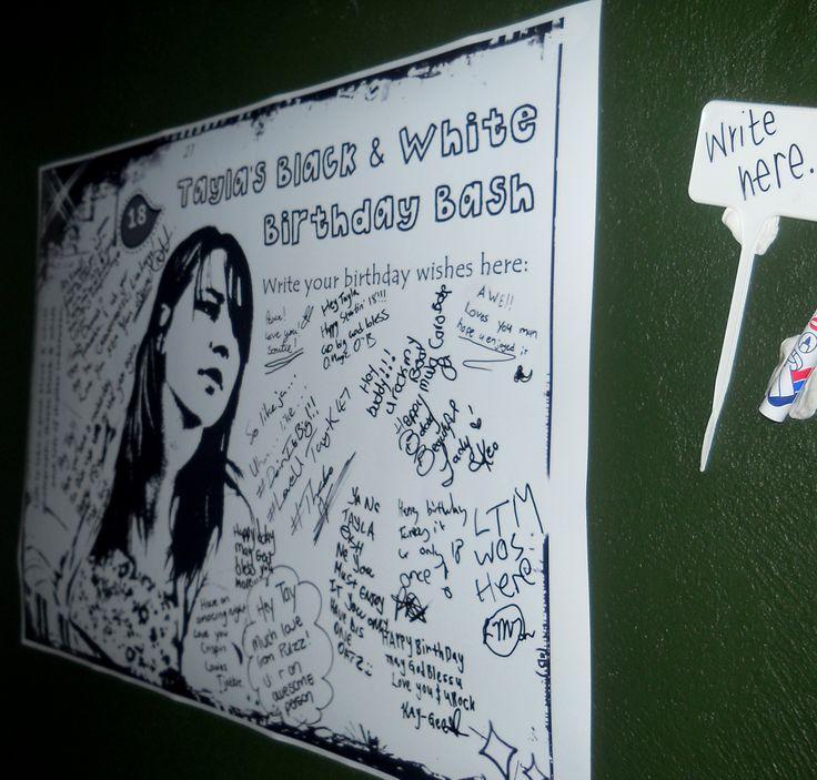 #black #white #birthday #message #board #decor  http://www.jades.co.za/