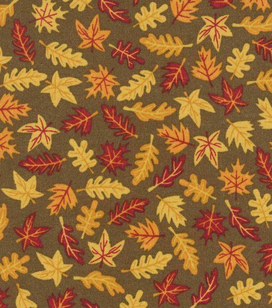 Autumn Inspirations Harvest Fabric- Mini Leaves Brown