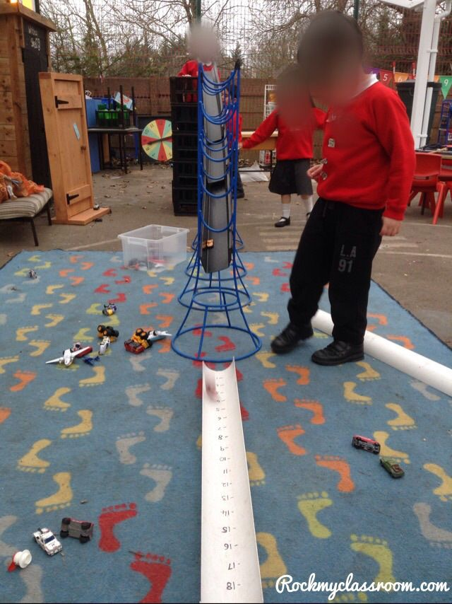 Outdoor challenge - whose car can go furthest along the piece of numbered guttering
