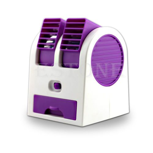 Mini-Small-Fan-Cooling-Portable-Desktop-Dual-Bladeless-Air-Conditioner-USB-NEW