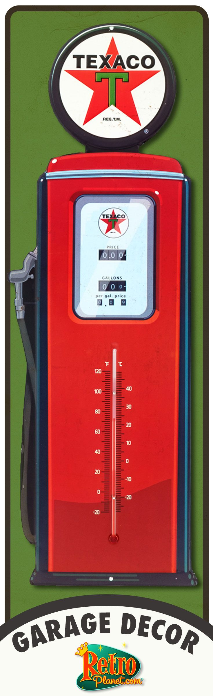 """Beautiful 20"""" embossed Texaco gas pump shaped thermometer. Great garage decor."""