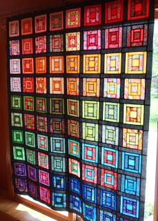 elsie's girl: Kaffe Crayon Box ... love it looks like stained glass.  would this concept be cool  some how as window panels, but without destroying the work of the quilting