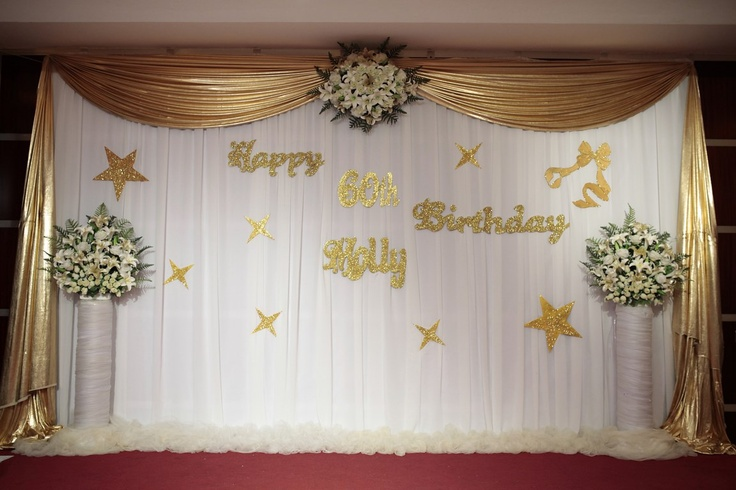 Stage decorations 60th birthday party golden theme for 25th wedding anniversary stage decoration