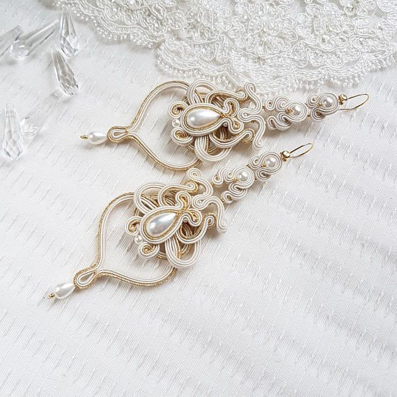 Check out this item in my Etsy shop https://www.etsy.com/listing/551087350/ecru-bridal-soutache-earrings-ecru-and