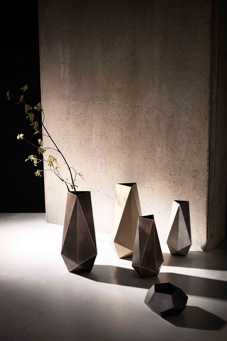 Galena faceted #vases in #steel or #bronze