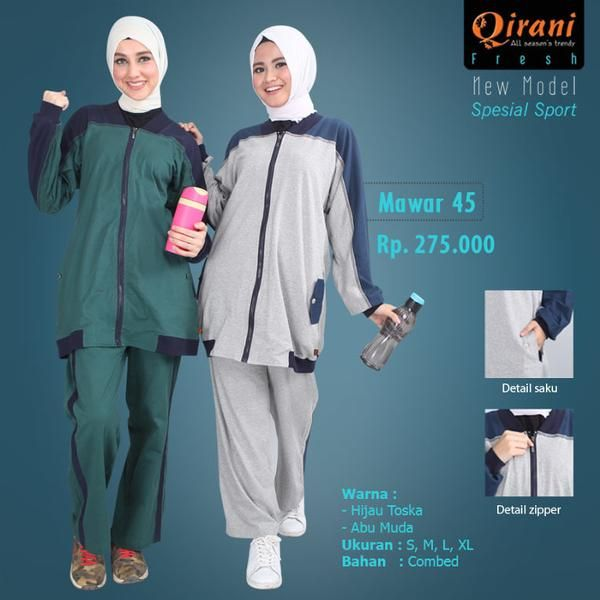 Beli Baju Olahraga Wanita Qirani Fresh Mawar 45 Abu Muda dari Aprilia Wati agenbajumuslim - Sidoarjo hanya di Bukalapak
