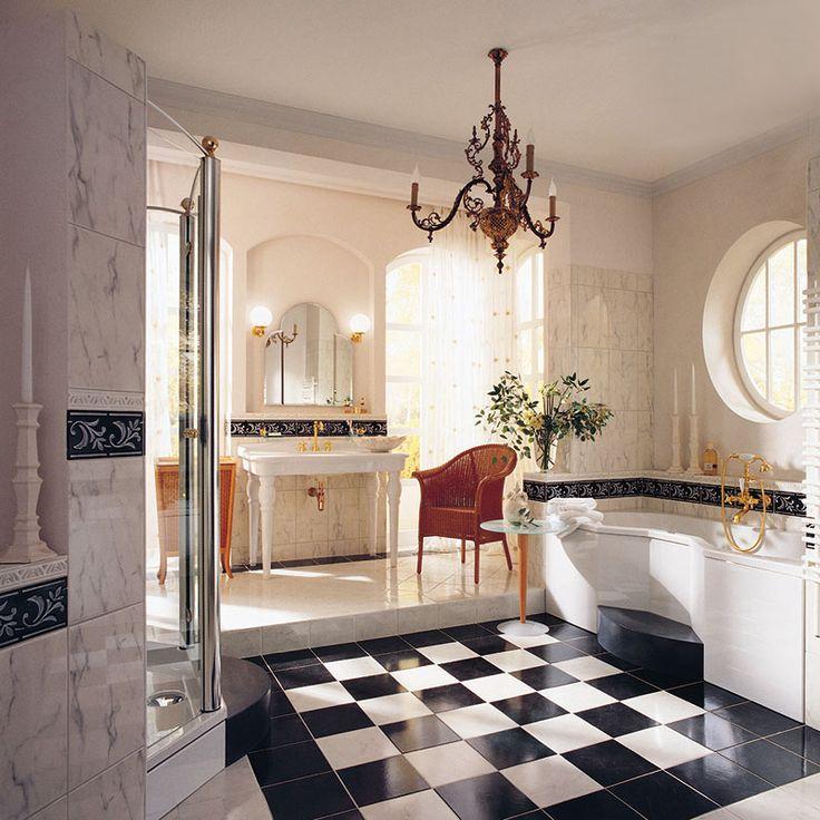 Дизайн ванной комнаты в классическом стиле.