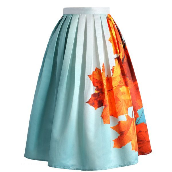 Chicwish Maple Sky Printed Midi Skirt ($40) ❤ liked on Polyvore featuring skirts, blue, midi skirt, calf length skirts, blue skirt, knee length pleated skirt and ruffle pleated skirt