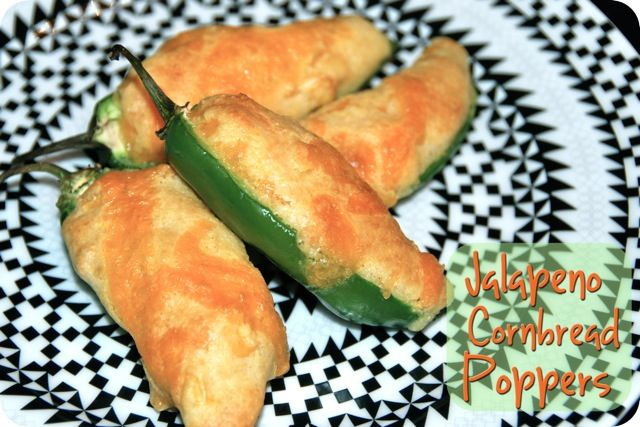 """Jalapeno Cornbread Poppers...Turned out """"okay.""""  A word of warning, the quality of these will highly depend on the spicy-ness level and size of the jalapenos.  Also make sure to wear gloves while de-seeding the jalapenos, I didn't and my hands paid for it."""