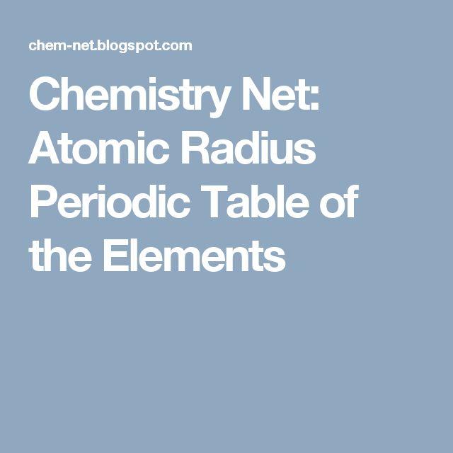Chemistry Net: Atomic Radius Periodic Table of the Elements