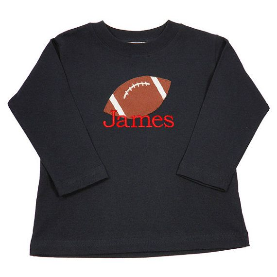 Monogrammed Football Applique T-shirt Boys Navy Top Long Sleeve Back to School sizes: 12m, 18m, 24m, 2T, 3T, 4T, 4, 5, 6, 7, 8, 10