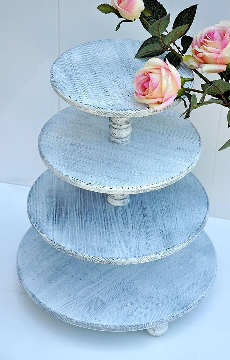 Desmontable de 4 niveles Torre de cupcakes para boda shabby chic Base para cupcakes de madera para boda Porta torta Bases de pasteles Decoración de mesa de boda Centro de mesa de postres Soporte para torta en madera para bodas y fiestas