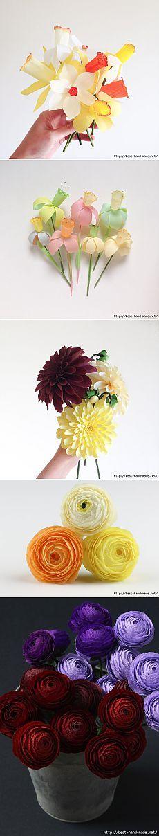 Красивые цветы из креп-бумаги от Susan Beech. Мастер-класс.