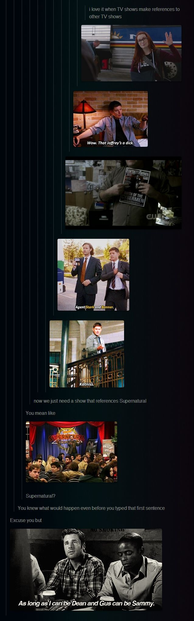 Hahahahaha!!! Supernatural has all the references even about themselves, but that's funny that another show made a reference to them