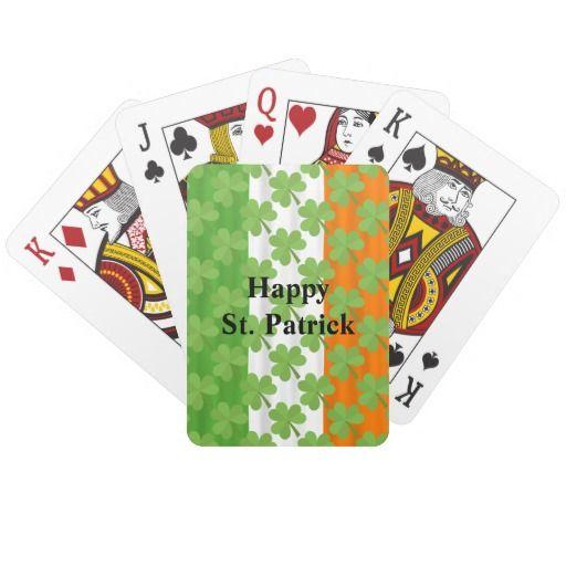 Happy St. Patrick's Day Irish Flag Shamrock Paddy #PlayingCards #StPatrick